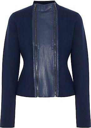 Elie Tahari Elie Tahari Woman Leather-trimmed Merino Wool Jacket Navy Size XS