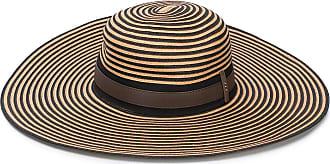 PESERICO striped wide-brim hat - Brown
