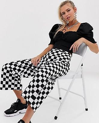 Reclaimed Vintage inspired trouser in mono check-Multi