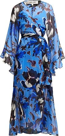 fe1e3cdb360f0f Diane Von Fürstenberg Lizella Floral Print Silk Dress - Womens - Blue Print