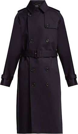 A.P.C. Greta Double-breasted Cotton Trench Coat - Womens - Dark Navy