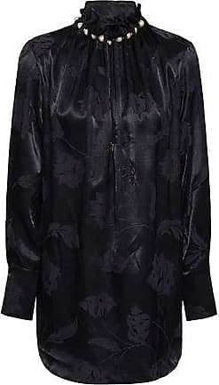 Mother Of Pearl Mother Of Pearl Woman Ruffle-trimmed Embellished Satin-jacquard Blouse Navy Size 10