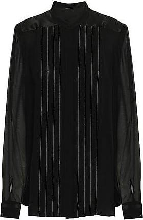 Elie Tahari Elie Tahari Woman Gilberta Chiffon-paneled Bead-embellished Silk Crepe De Chine Blouse Black Size XS