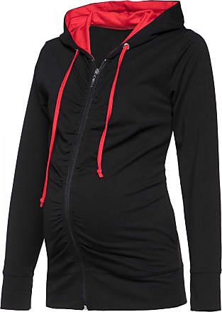 Happy Mama Womens Maternity Hoodie Sweatshirt Zip Front Long Sleeves. 263p (Black & Red, UK 12, XL)