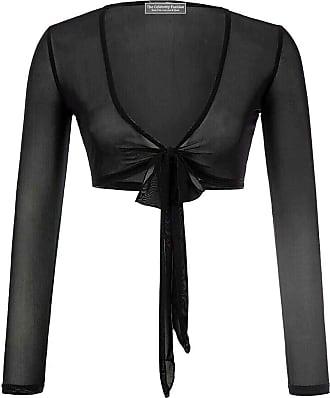 The Celebrity Fashion Womens Long Sleeve Bandage Wrap Crop Top Mesh Shrug Transparent Shirt Blouse Top Black