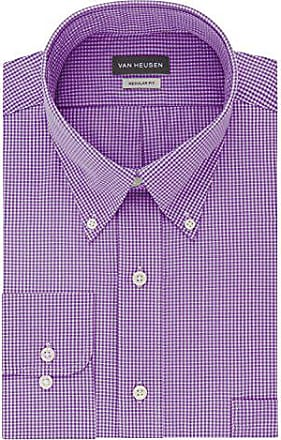 Van Heusen Mens Regular Fit Gingham Button Down Collar Dress Shirt, Amethyst, X-Large