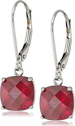 Amazon Collection 10k White Gold Cushion-Cut Checkerboard Created Ruby leverback Earrings (8mm)