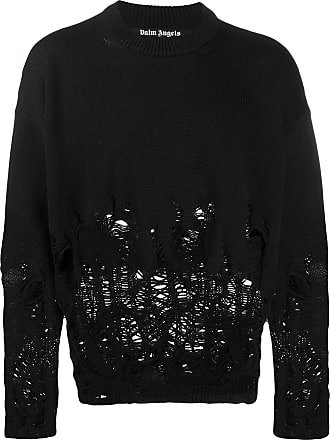Palm Angels Distressed intarsia knitted sweater