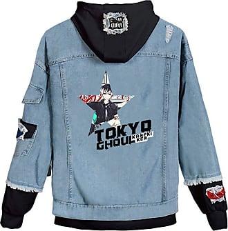 Cosstars Anime Tokyo Ghoul Kaneki Ken Hooded Denim Jacket Unisex Cosplay Button Trucker Jeans Coat Blue-9-XXXXL