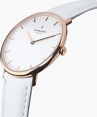 Nordgreen Native - Rose Gold | White Leather - 36mm / Rose Gold