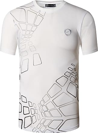 Jeansian Mens Sports Breathable Quick Dry Short Sleeve T-Shirts Tee Tops Running Training LSL017 White XL