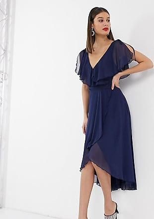 Asos Tall ASOS DESIGN Tall midi split sleeve cape back dress with tie shoulder-Blue