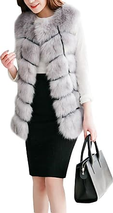 ZongSen Womens Faux Fur Vest Gilets Coat Jacket Sleeveless Long Waistcoat Light Gray XXL