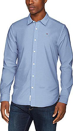 Tommy Jeans Homme Dobby  Chemise Casual Manches Longues coupe droite