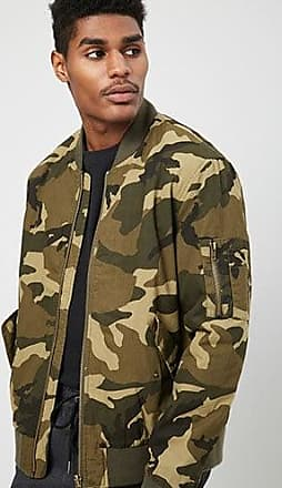 21 Men Premium Camo Bomber Jacket at Forever 21 Olive/brown