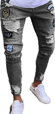 junkai Mens Hiphop Streetwear Jeans Ripped Stretch Zipper Trousers Distressed Holes Denim Grey A 2XL