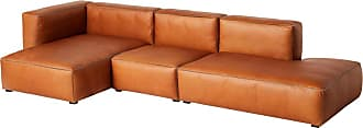 HAY Mags Soft 3-Sitzer Sofa Leder links 334x153x67cm - cognac/Naht schwarz/Softleder Silk SIL0250/Füße Kiefernholz schwarz gebeizt/mit Filzgleit