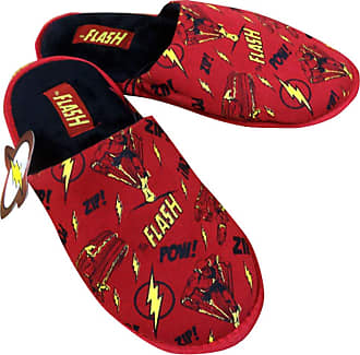 DC Comics Adult Flash All-Over Print Scuff Slippers Medium Red