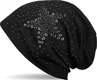 styleBREAKER Slouch Beanie with Star Rivets and Rhinestone Applications, Punched Rivets, Unisex 04024049, Colour:Black