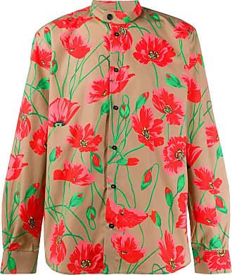 Msgm poppy-print band-collar shirt - Brown