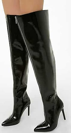 38b222fb6de Forever 21 Forever 21 Faux Patent Leather Thigh-High Boots, Black