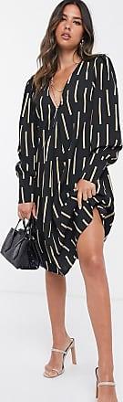 Unique21 Unique21 long sleeve abstact smock dress-Black