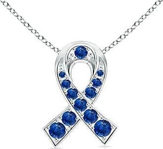 Angara Valentine Day Sale - 14k White Gold Round Sapphire Ribbon Pendant