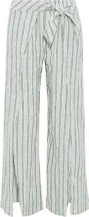 Joie Joie Woman Sahira Tie-front Striped Linen Wide-leg Pants Dark Green Size XXS