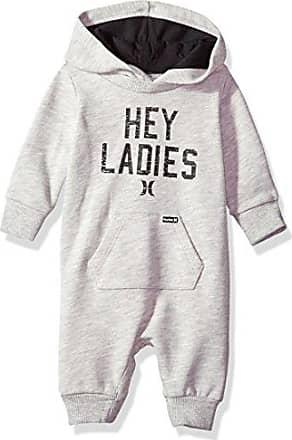 Hurley Baby Boys Long Sleeve Hooded Coverall, Dark Grey Heather, 6M
