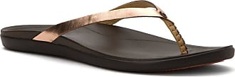 Olukai Olukai Hoopio Leather Sandal - Womens Copper / Dark Java 11