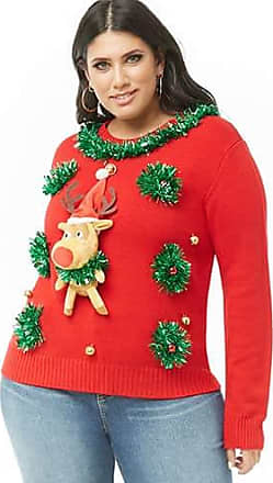 Forever 21 Plus Forever 21 Plus Size Reindeer Christmas Sweater Red/multi