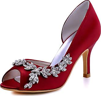 Elegantpark HP1542 Wedding Heels for Women Peep Toe Bridal Shoes High Heels Satin DOrsay Rhinestone Evening Party Shoes Court Shoes Burgundy UK 5