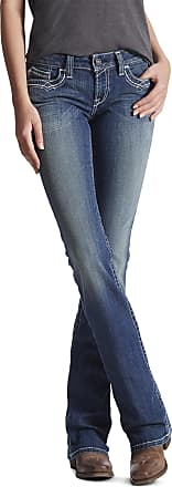 Ariat Womens R.E.A.L. Mid Rise Stretch Entwined Boot Cut Jeans in Marine Cotton, Size 30 X-Long, by Ariat