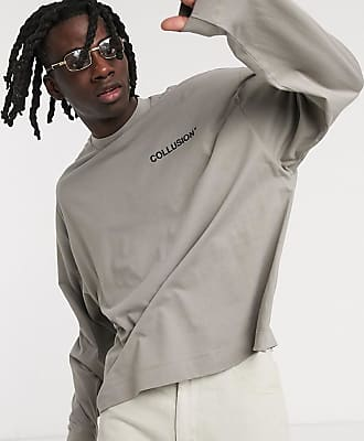 Collusion oversized t-shirt with raised logo print in grey