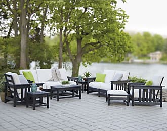 POLYWOOD Outdoor POLYWOOD Mission Deep Seating Group - Seats 8 - Black / Birds Eye - PWS149-2-BL5472