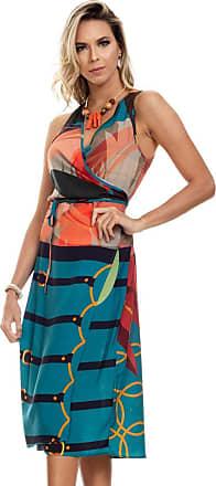 Clara Arruda Vestido Clara Arruda Mid Transpassado 50529-38 - Verde/laranja