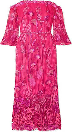 f21eb5ad4fd78 Marchesa Off-the-shoulder Guipure Lace Dress - Fuchsia