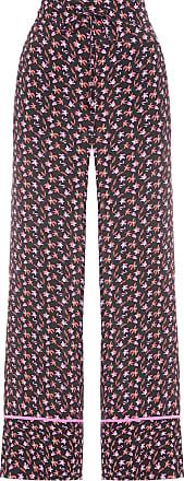 Shoulder Calça Pantalona Estampada Floral - Preto