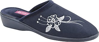 a72955f07084 Dunlop Womens Ladies Pamela Warm Velour Embroidered Slip On Wedge Mule  Slippers (6 UK