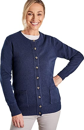 WoolOvers Womens Lambswool Crew Neck Knitted Cardigan Navy, M