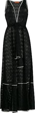 Missoni Vestido longo com decote em V e cinto - Preto