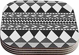 KESS InHouse Nika MartinezBlack Forest Gray White Coasters (Set of 4), 4 x 4, Multicolor