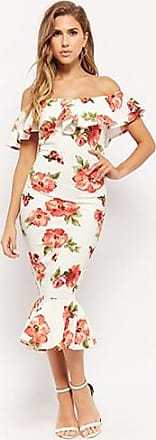 Forever 21 Forever 21 Floral Off-the-Shoulder Mermaid Dress White