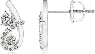 Angara Valentine Day Sale - Two Stone Diamond Twist Loop Earrings