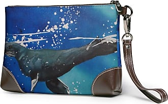 GLGFashion Womens Leather Wristlet Clutch Wallet Sea Lions Seal Print Storage Purse With Strap Zipper Pouch