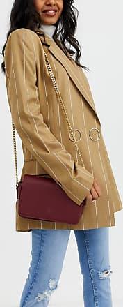 Truffle burgundy foldover cross body bag-Red
