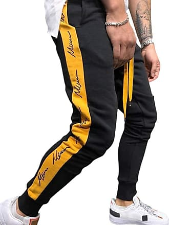 TOMWELL Mens Cargo Trousers Slim Fit Jeans Combat Skinny Elasticated Waist Drawstring Chinos Pants Slack Bottoms Black X-Large