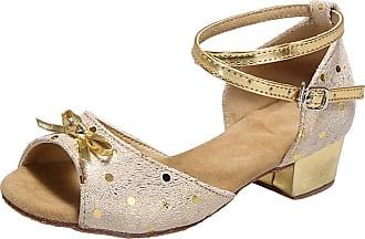 Insun Girls Ballroom Dance Shoes Latin Salsa Performance Shoes Suede Sole Gold 3 12.5 UK Child