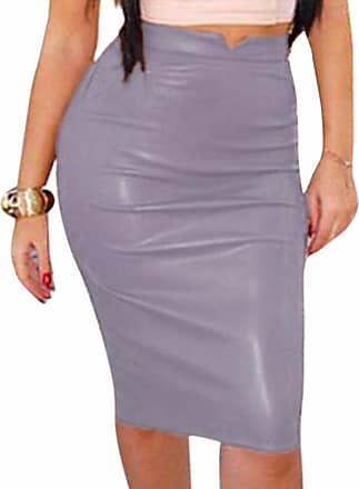 QIYUN.Z Womens Faux Leather Elastic Waistband Bodycon Midi Skirt Stretch Wet Look Pencil Fitted Tube Skirt