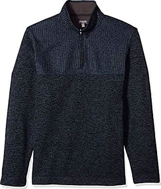 Van Heusen Mens Big and Tall Flex 1/4 Zip Texture Block Sweater Fleece,X-Large Tall,Blue Thunder
